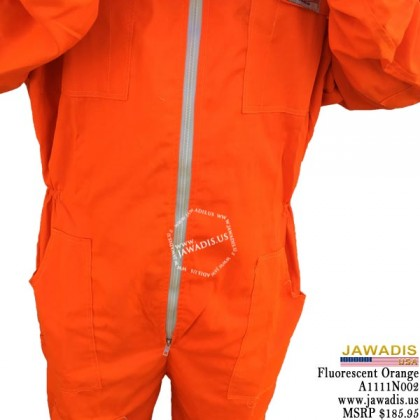 Adult Full Bee Suit with Fence Style Veil - Fluorescent Orange