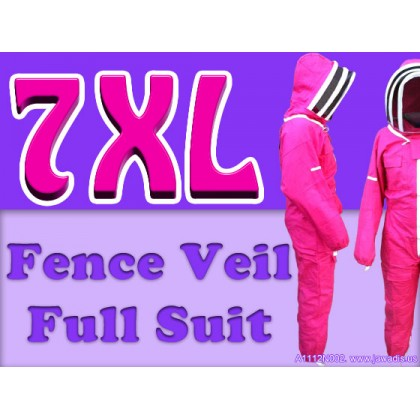 7XL Adult Full Bee Suit with Fence Style Veil - Fuchsia