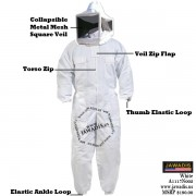 Adulte White Pest Control Beekeepers Bee Suit with Square Style Veil
