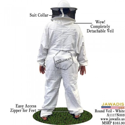 Adult White Beekeeping Sheriff Bee Suit with Round Sheriff Veil