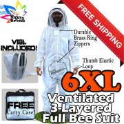 6XL Jawadis Off-White Vented Best Bee Suits & Vented Fence Veil