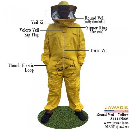 Adult Yellow Beekeeping Bee Suit with Round Sheriff Style Veil
