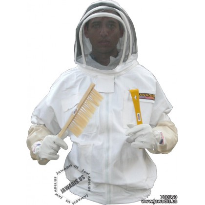 6XL Adult White Beekeepers Jacket with Fence Veil - FREE Beekeeper Gloves