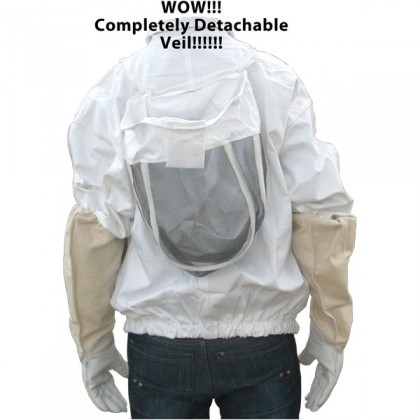 8XL Yellow 100% Cotton Adult Bee Jacket with Fence Veil - FREE Gloves