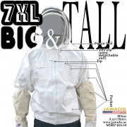 7XL Adult White Beekeeping Jacket with Fence Veil - FREE Bee Gloves