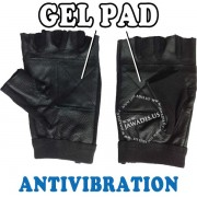 Black Leather Spandex Gel Pad Fingerless Anti-Vibration Gloves