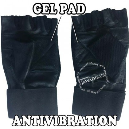 Black Leather Spandex Fingerless Anti-Vibration Gloves Wrist Support