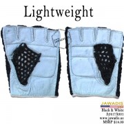 Genuine Leather Women's Mesh Motorcycle Gloves  - Black & White