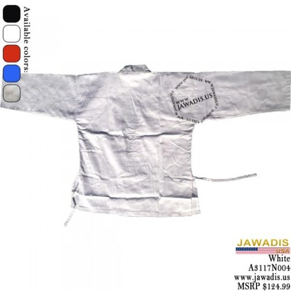 Jawadis All White 7-oz Karate, KungFu, Gi Uniform BJJ with Belt
