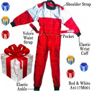 Adult Karting Race Suits and FREE Carrying Case - Red and White, Size L - Christmas Gift