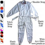 Adult Go Karting Overalls Outfits and FREE Carrying Case - White - Size M