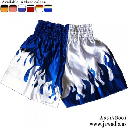 Jawadis Best Muay Thai Boxing Short - Blue with White Fire Flames