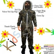 Kids Full Bee Suit with 2 Fence Style Veil - Camouflage Conceal Green