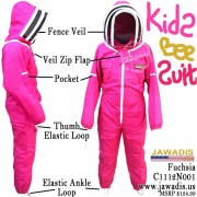 Kids Full Beekeeping Bee Suit with 2 Fence Style Veils - Pink / Fuchsia Size M