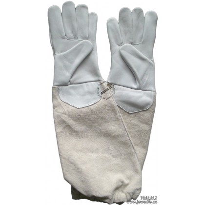 Kids 100% Cowhide Leather Bee Gloves - White