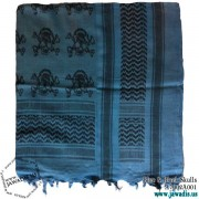 Shemagh Wrap Scarf Keffiyeh, Military Head Scarf  - Blue & Black Skulls