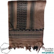 Shemagh Wrap, Keffiyeh, Military Head Scarf  - Coyote & Black