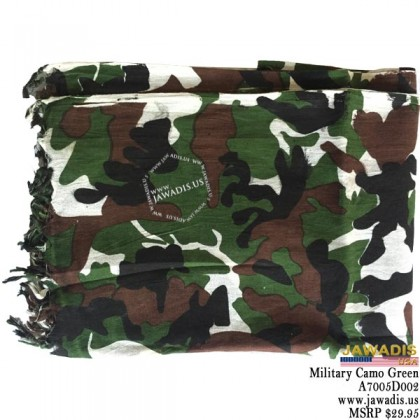 Shemagh Wrap, Keffiyeh, Military Head Scarf  - Military Camouflage Green