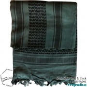 Shemagh Wrap, Keffiyeh, Military Head Scarf  - Dark Slate Gray & Black