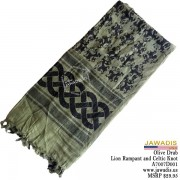Shemagh Wrap, Keffiyeh, Military Head Scarf  - Olive Drab Lion Rampant and Celtic Knot